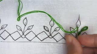 hand embroidery Border line Stitch| latest border design for dress