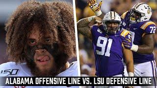Alabama Crimson Tide offensive line vs. the LSU Defensive line