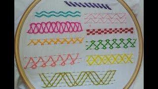 Basic 10 type of nakshi kantha border line embroidery tutorial for beginners,নকশীকাঁথা নকশা,