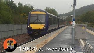 Class 170420 at Tweedbank with its livery stripped