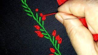 Basic Hand Embroidery Stitches | Border line embroidery tutorial # 57