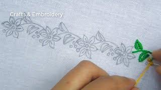 Hand Embroidery, Beautiful Border Line Embroidery Design, Easy Border Embroidery