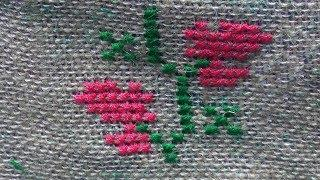 Hand embroidery Work : Cross Stitch Embroidery : Border Line Embroidery