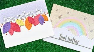 Intro to Feel Better Line Border,  Mother's Day Line Border + 2 cards from start to finish