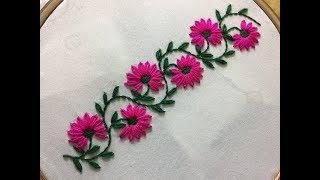 Hand Embroidery: borderline embroidery design with lazy daisy stitch.