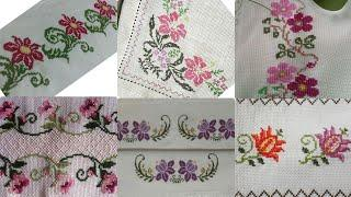 Very Impressive Cross Stitch Patterns For Bedsheet And Table Covers Borderline