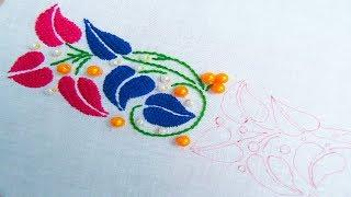Hand Embroidery; Kadai Kamal Stitch; Border line design