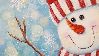 Snowman Acrylic Painting LIVE Tutorial