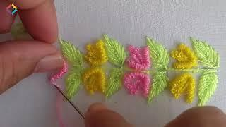hand embroidery beautiful border design | easy border line embroidery | nakshi katha design.