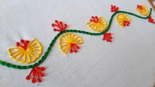Simple Border Design for Dress/Kurti (Hand Embroidery Work)