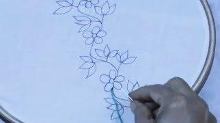 hand embroidery: beautiful border Line embroidery design  | Easy Flower Embroidery Trick