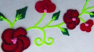 Hand Embroidery, Beautiful Border Line Embroidery Design, Border Line embroidery
