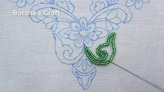 Hand Embroidery, Beautiful Neck Line Embroidery Tutorial, Easy Neck Design