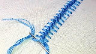 Hand Embroidery : Knotted Pearl Stitch |  border line embroidery tutorial # 80.