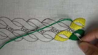 easy border design hand embroidery | border line embroidery for dress
