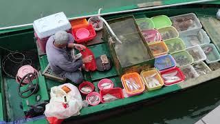 Killing live Red Snapper  On Board at Seafood Floating Market in Sai Kung Hong Kong