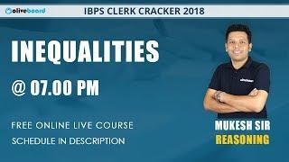 IBPS Clerk Cracker | Reasoning Live Class |  Inequalities - 1