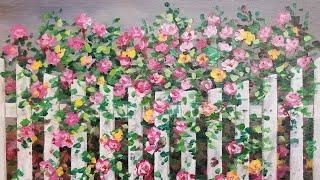 Climbing Roses on Fence Acrylic Painting LIVE Tutorial