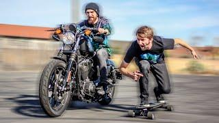 The World's Fastest Electric Skateboard VS a Harley Davidson Motorcycle