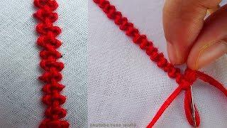 Hand Embroidery Stitch: Twilling stitch or palestrina stitch border line design|basic embroidery-5