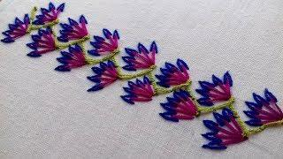 hand embroidery beautiful border design | easy border line embroidery | nakshi katha design.