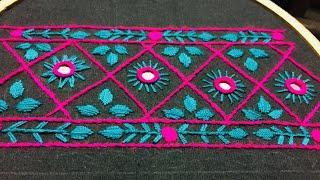 Hand Embroidery:borderline embroidery design by nakhi design art