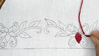 hand embroidery border line  design for dress, saree.