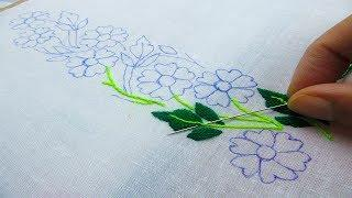 Hand Embroidery; Beautiful Border Line Design; Flower Embroidery Design