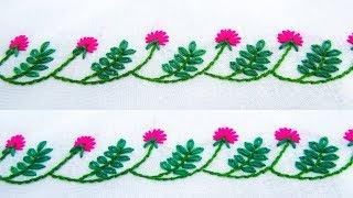 Hand Embroidery; Border line design; Lazy daisy/Flower stitch