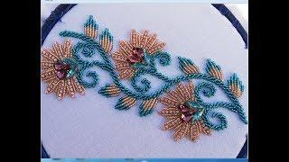 Hand embroidery,border line design with beads(beads work)