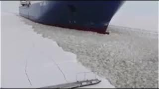 video pilot board ships in snow, Finland