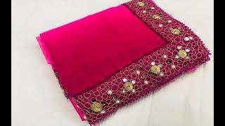 Plain Georgette Sarees With Lace Border    Plain Sarees With Lace Border/Georgette Lace Work saree