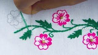 Hand embroidery, New Nakshi kantha border line design tutorial