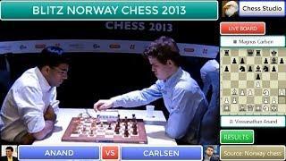 RUY LOPEZ OPENING!!! ANAND vs CARLSEN | BLITZ NORWAY CHESS 2013