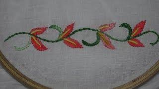 Hand Embroidery : Border line Embroidery : Bullion Knot Stitch & Fish bone Stitch Embroidery