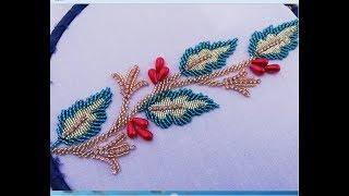 Hand embroidery; border line embroidery(beads work)