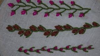 Hand Embroidery Work : Variation of Feather Stitch : Border line Embroidery
