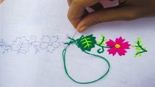 Hand Embroidery, New design border line embroidery,Latest flower border line embroidery,Crafts & Emb