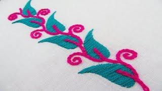 Hand Embroidery; Border line design; Chain stitch/Leaf Stitch
