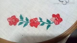 Hand embroidery on Bed sheet , Beautiful and easy Border line  embroidery
