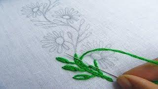Hand Embroidery, Borderline Flower Embroidery, Lazy Daisy Stitch