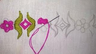 Hand Embroidery, Easy Border Line Embroidery for Dupatta, New Border Embroidery Design