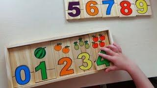 Learn numbers and fruits with a wooden board kids videos Учим цифры и фрукты