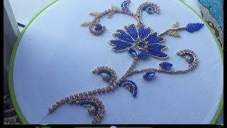 Hand Embroidery Beads work,Border line for Dress easy Embroidery tutorial