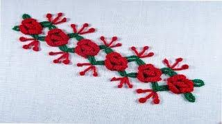 Modified hand embroidery border line, rose flower stitch embroidery design