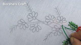 Hand Embroidery, Easy Border Line Embroidery with Beads, Border Embroidery Design
