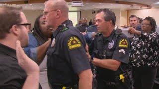 Citizens shoved and pushed by DPD at Dallas' first Community Police Oversight Board Meeting