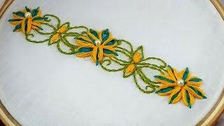 Hand Embroidery | Beautiful Border Line Design | Flower Embroidery Design