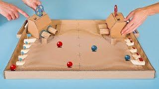 DIY Warship Battle Marble Board Game from Cardboard at Home