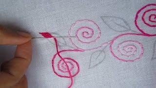 Hand embroidery nakshi kantha border line design 5